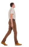 Punto di vista posteriore dell'uomo bello andante in jeans ed in una camicia Immagine Stock