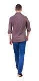 Punto di vista posteriore dell'uomo bello andante in jeans ed in una camicia Immagini Stock Libere da Diritti