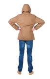 Punto di vista posteriore dell'uomo bello nel cercare del rivestimento di inverno Fotografia Stock