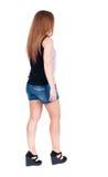 Punto di vista posteriore della donna di camminata Fotografie Stock Libere da Diritti