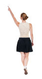 Punto di vista posteriore della donna di camminata in vestito bella ragazza bionda nella m. Fotografia Stock Libera da Diritti