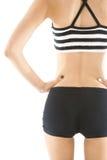 Punto di vista posteriore della donna di dieta su fondo bianco Fotografia Stock Libera da Diritti