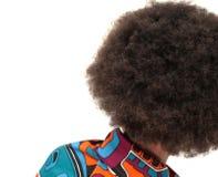 Punto di vista posteriore della ragazza con il afro enorme Fotografie Stock