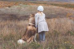 Punto di vista posteriore della ragazza con il cane del husky fotografia stock