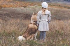 Punto di vista posteriore della ragazza con il cane del husky fotografia stock libera da diritti