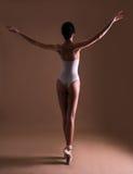 Punto di vista posteriore di giovane bello ballerino di balletto della donna che posa sulle dita del piede immagini stock