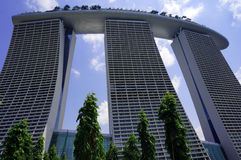Punto di vista posteriore di Marina Bay Sands Resort Fotografie Stock