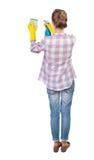 Punto di vista posteriore di una casalinga in guanti con la spugna ed il detersivo Immagine Stock Libera da Diritti