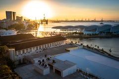Punto di vista di Rio de Janeiro Port dal tramonto Immagini Stock Libere da Diritti