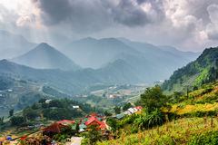 Punto di vista scenico di Cat Cat Village agli altopiani del Vietnam Immagini Stock Libere da Diritti