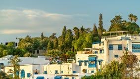 Punto di vista di Sidi Bou Said, una città vicino a Tunisi, Tunisia fotografia stock