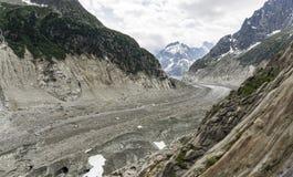 Punto di vista stupefacente del Mer de Glace Alpi francesi Chamonix-Mont-Blanc Fotografia Stock