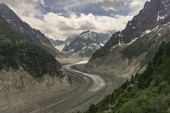 Punto di vista stupefacente del Mer de Glace Alpi francesi Chamonix-Mont-Blanc Fotografia Stock Libera da Diritti