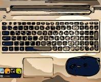 Punto di vista superiore astratto della tastiera del computer portatile e del topo nero usati come modello Fotografia Stock Libera da Diritti