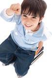 Punto di vista superiore del bambino sveglio con le barrette in su Fotografia Stock