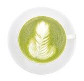 Punto di vista superiore del tè verde caldo di matcha isolato su fondo bianco, c fotografie stock