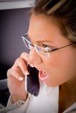 Punto di vista superiore dell'avvocato che comunica sul telefono Fotografia Stock Libera da Diritti