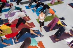 Punto di vista superiore della gente al festival di yoga a Milano, Italia Immagine Stock