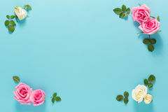 Punto di vista superiore delle foglie e delle rose Fotografia Stock