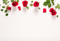 Punto di vista superiore delle foglie e delle rose Immagini Stock