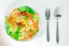 Punto di vista superiore delle verdure di freschezza in una ciotola bianca su backgr bianco Fotografia Stock Libera da Diritti