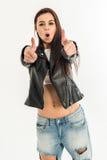 Punto di vista superiore di giovane donna attraente Fotografie Stock