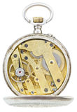 Punto di vista superiore di movimento d'ottone dell'orologio da tasca d'annata Fotografie Stock