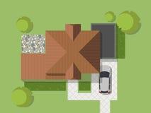Punto di vista superiore di un paese con la casa, il cortile, il prato inglese ed il garage Vista superiore di una casa Illustraz Immagini Stock