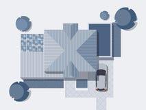 Punto di vista superiore di un paese con la casa, il cortile, il prato inglese ed il garage Vista superiore di una casa Illustraz Fotografie Stock