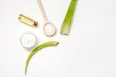 Punto di vista superiore di vera di pelle dell'aloe alternativo di cura su fondo bianco Fotografia Stock