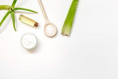 Punto di vista superiore di vera di pelle dell'aloe alternativo di cura su fondo bianco Immagini Stock