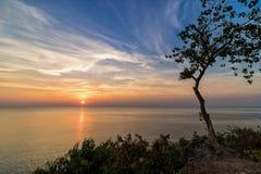 Punto di vista di tramonto dal mare Fotografia Stock