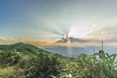 Punto di vista di tramonto a Nern Chang Suek Viewpoint, Pilok, Kanchanab Immagini Stock