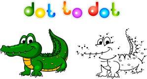 Punto divertente del coccodrillo del fumetto da punteggiare Illustrazione Vettoriale