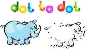 Punto divertente di rinoceronte del fumetto da punteggiare Fotografia Stock Libera da Diritti