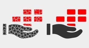Punto e icono plano de los ladrillos de la oferta de la mano del vector ilustración del vector