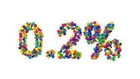 Punto el dos por ciento hecho de esferas multicoloras Fotos de archivo libres de regalías