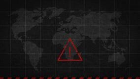 Punto esclamativo che avverte catastrofe globale illustrazione di stock