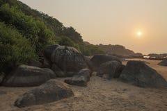 Punto Goa de la puesta del sol Foto de archivo