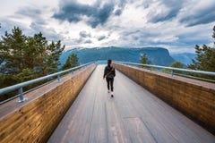 Punto hermoso de opinión de la plataforma de observación de Noruega de la naturaleza del puesto de observación de Stegastein imagen de archivo