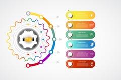 Punto integrato del modello 6 di progettazione di cronologia di Infographics di affari illustrazione di stock
