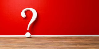 Punto interrogativo bianco alla parete concreta rossa di lerciume Immagini Stock
