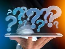 Punto interrogativo blu visualizzato su un'interfaccia futuristica - 3d si strappano Fotografia Stock Libera da Diritti