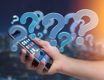 Punto interrogativo blu visualizzato su un'interfaccia futuristica - 3d si strappano Fotografie Stock Libere da Diritti