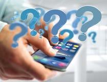 Punto interrogativo blu visualizzato su un'interfaccia futuristica - 3d si strappano Immagine Stock