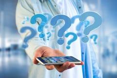 Punto interrogativo blu visualizzato su un'interfaccia futuristica - 3d si strappano Fotografia Stock