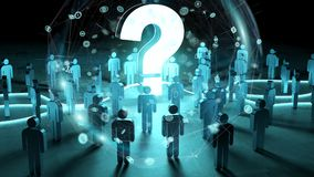 Punto interrogativo che illumina un gruppo di persone la rappresentazione 3D Immagine Stock