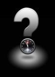 Punto interrogativo con l'orologio Fotografia Stock Libera da Diritti