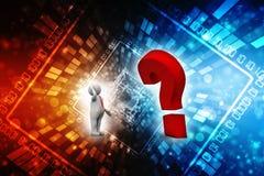Punto interrogativo con l'uomo d'affari, concetto di confusione 3d rendono royalty illustrazione gratis
