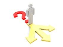 Punto interrogativo con un carattere sopra tre frecce. Fotografia Stock Libera da Diritti